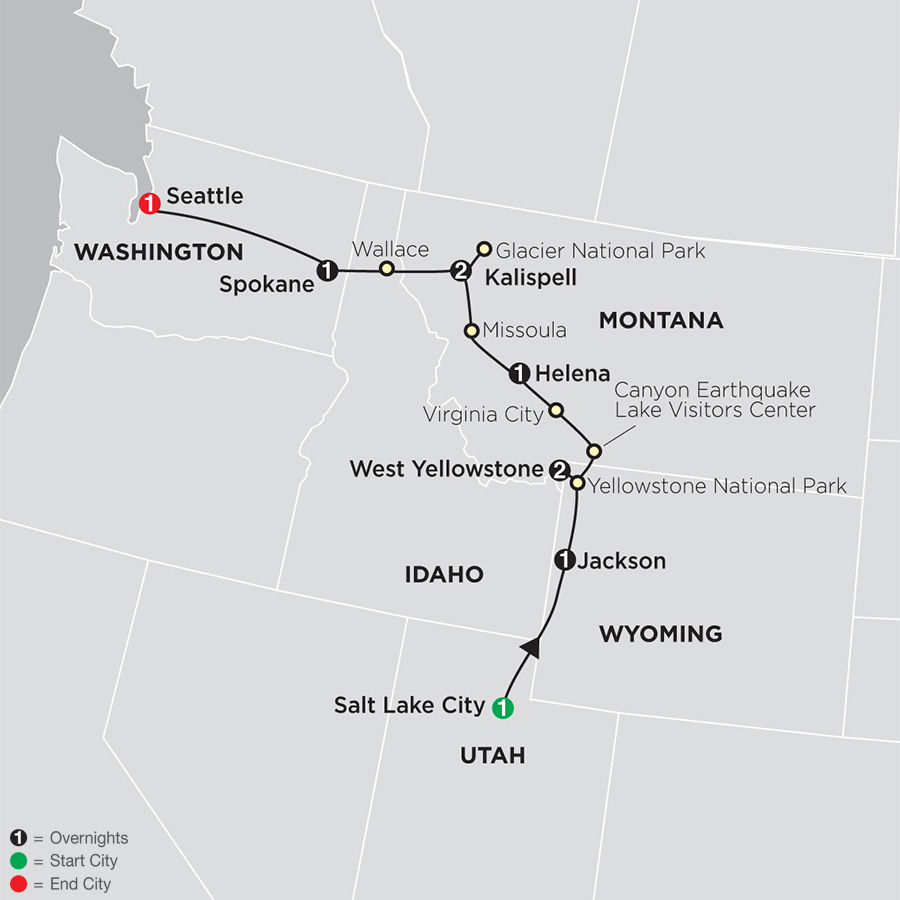 Itinerary map of Geysers to Glaciers 2019 from Salt Lake City to Seattle