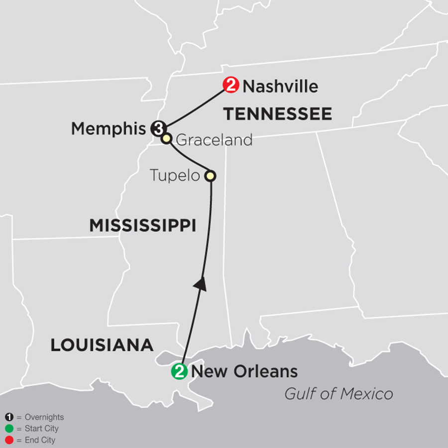 Itinerary map of Southern Sounds 2019 from New Orleans to Nashville