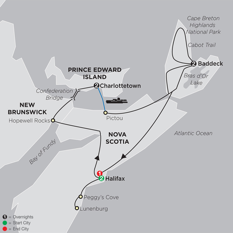 Itinerary map of Atlantic Canada