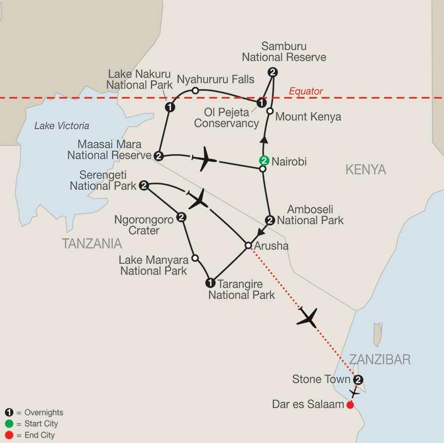 Kenya and Tanzania: The Safari Experience with Nairobi and Zanzibar (QBY2015)