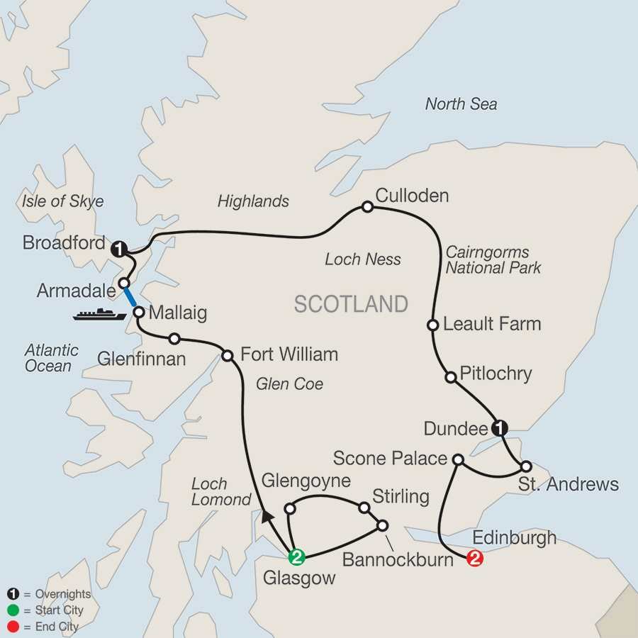 Itinerary map of Bonnie Scotland>