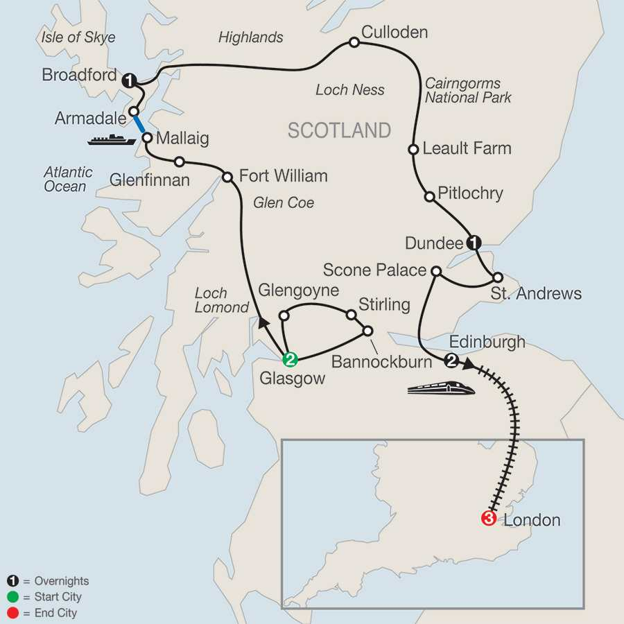 Itinerary map of BONNIE SCOTLAND WITH LONDON>