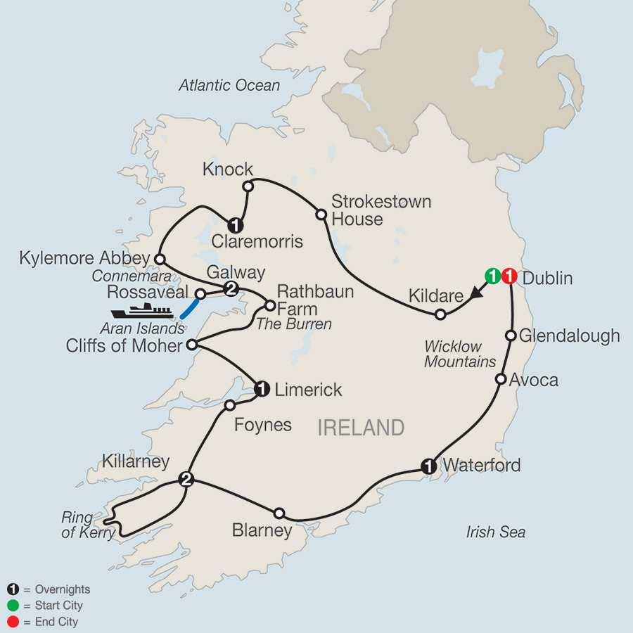 Itinerary map of Emerald Isle>