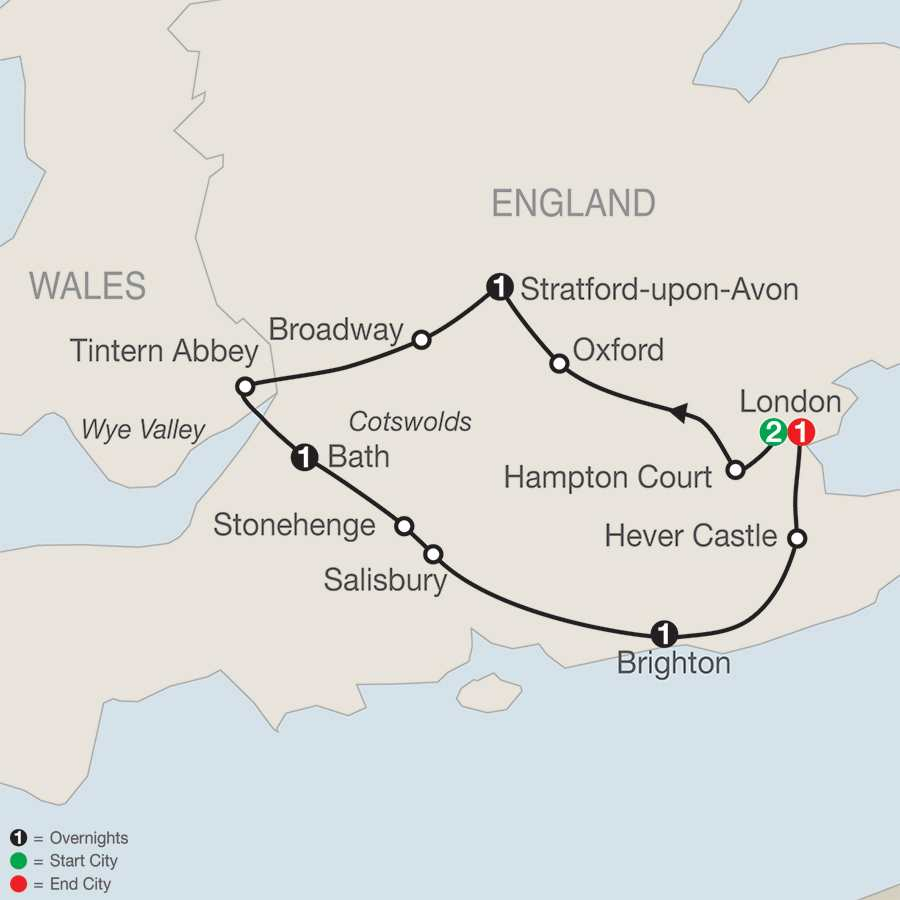 Itinerary map of The Best Of Southern England