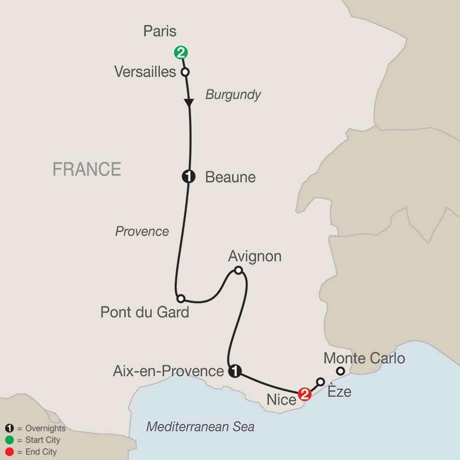 Itinerary map of French Escape