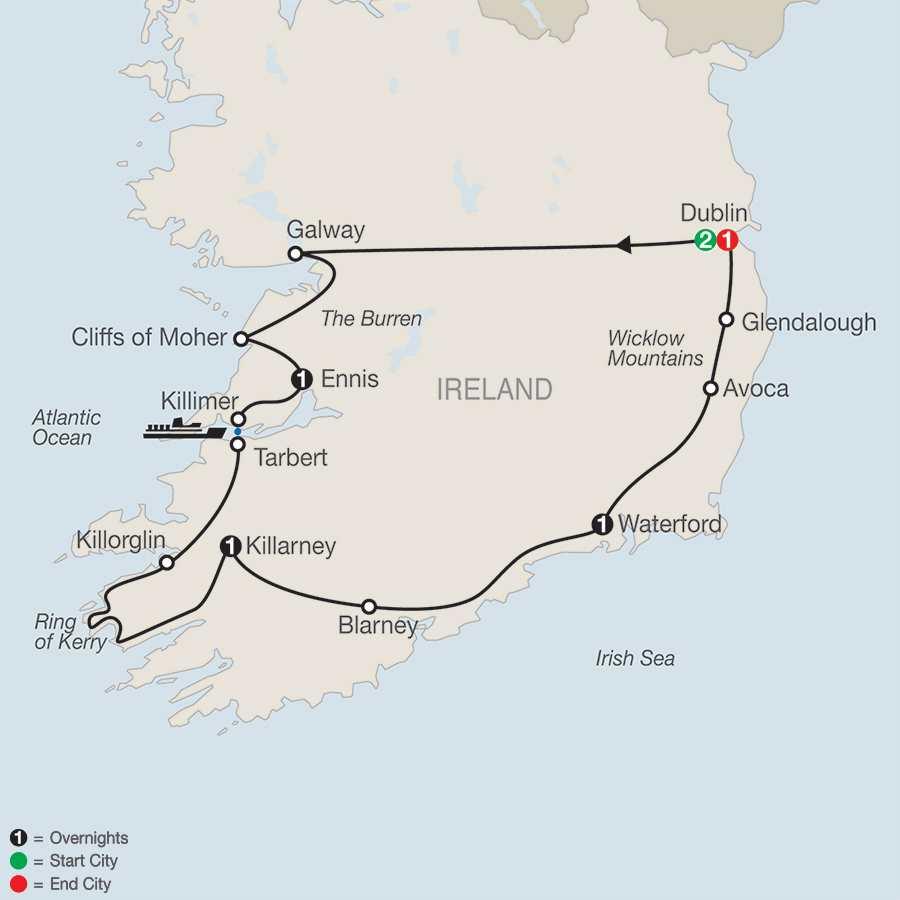 Itinerary map of Irish Escape