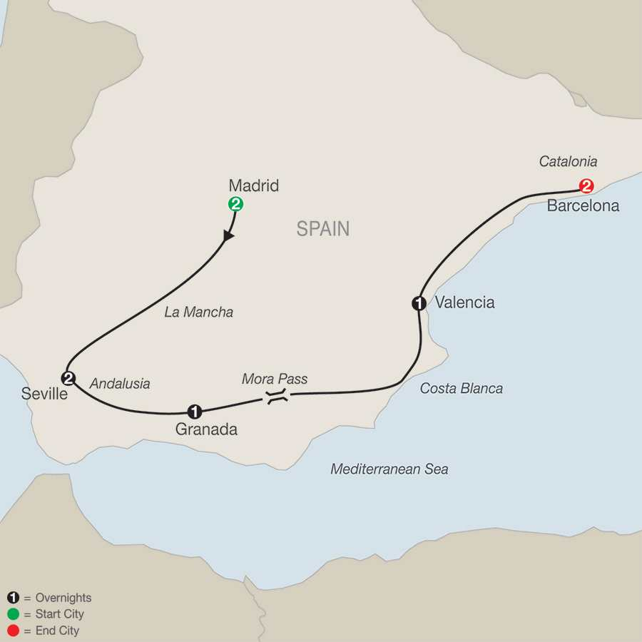 Itinerary map of Spanish Escape