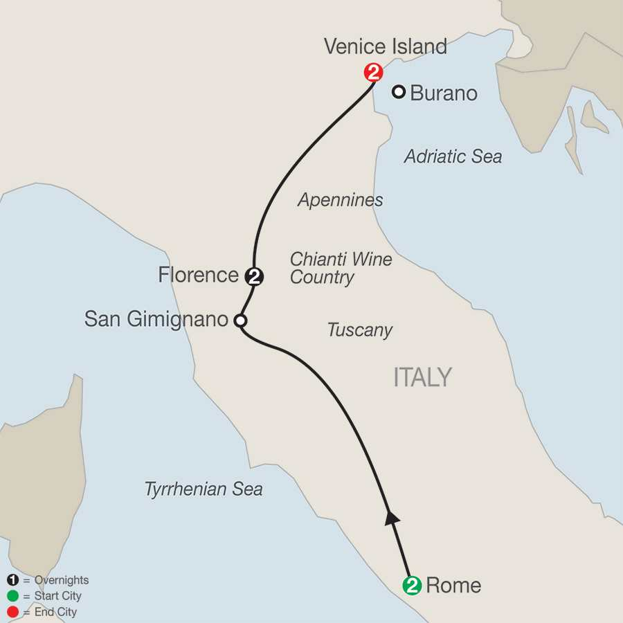 Itinerary map of A Taste Of Italy