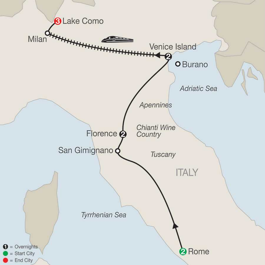 Itinerary map of A Taste of Italy with Lake Como