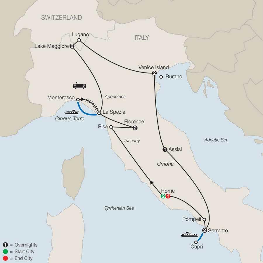 Itinerary map of Italian Mosaic>