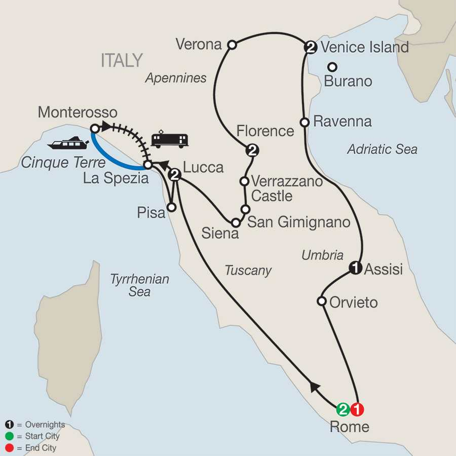 Itinerary map of Italian Treasures