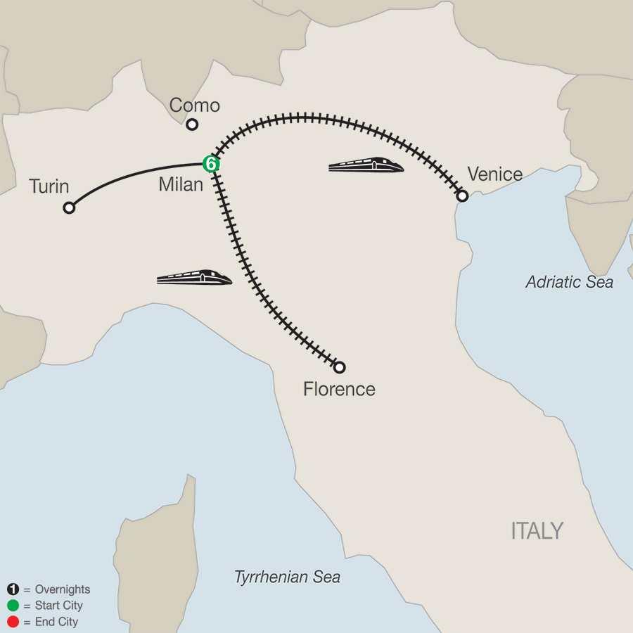 Itinerary map of Splendors of Italy