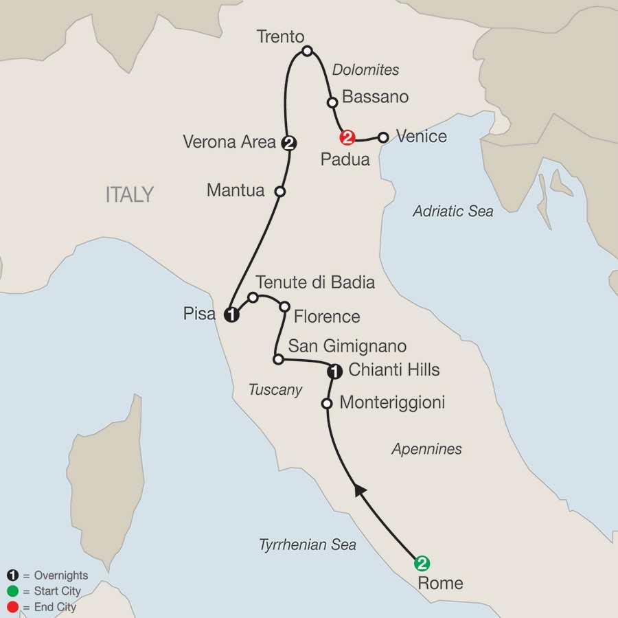 Itinerary map of Italian Sampler