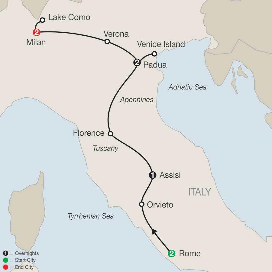 Itinerary map of ITALIAN VISTA