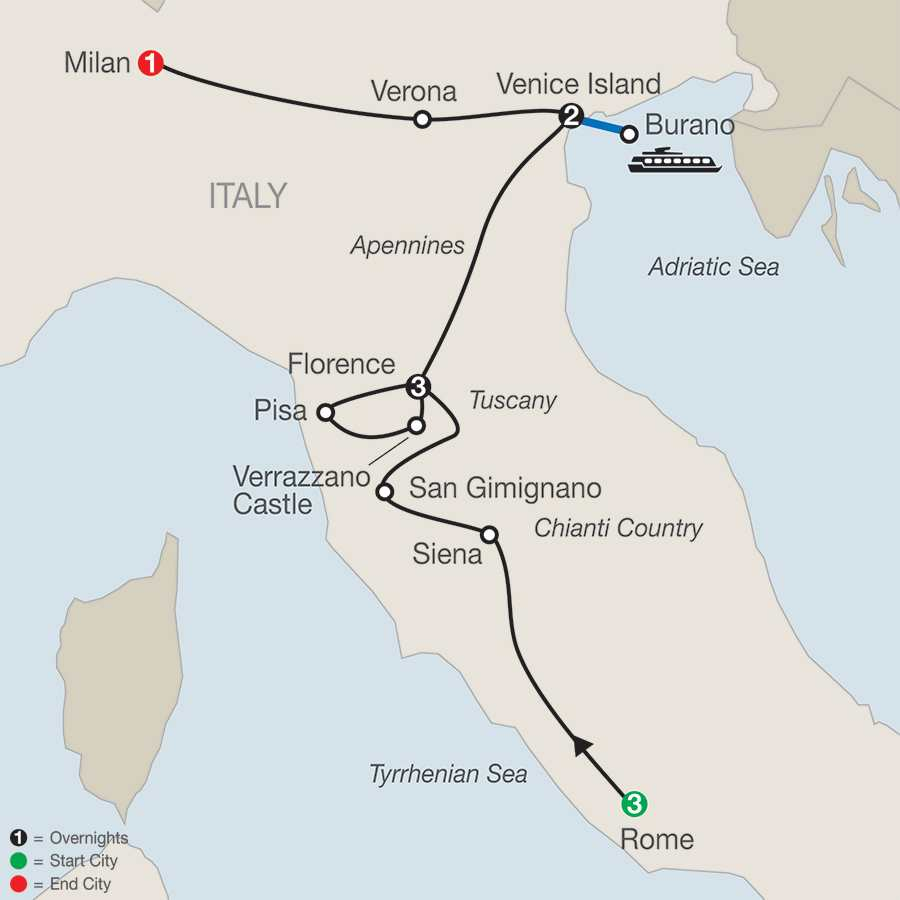 Itinerary map of Italian Highlights