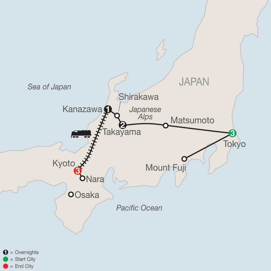 Itinerary map of Discover Japan