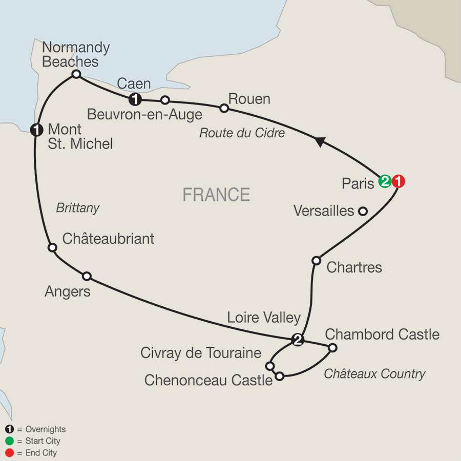 Itinerary map of Normandy, Brittany & Chateaux Country>
