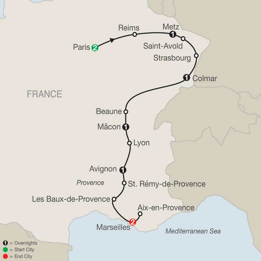 Itinerary map of Paris, Champagne & The French Countryside