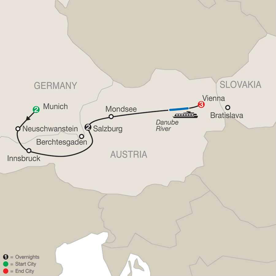 Itinerary map of Munich, Salzburg & Vienna