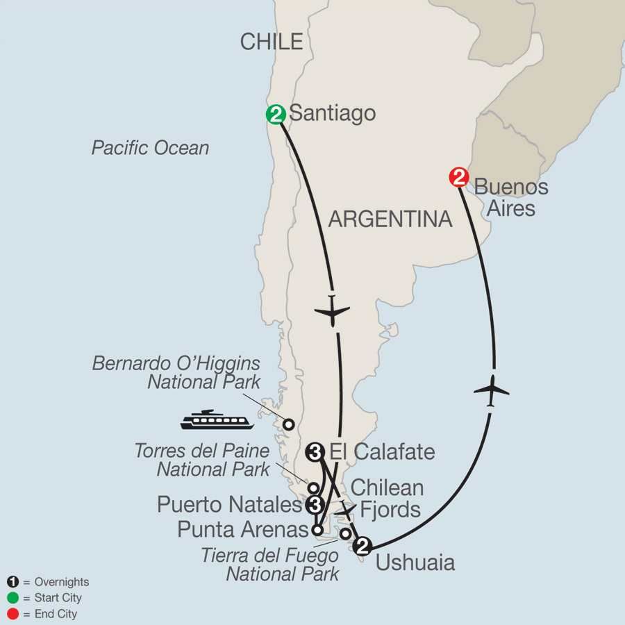 Itinerary map of Patagonia: Journey to the End of the World