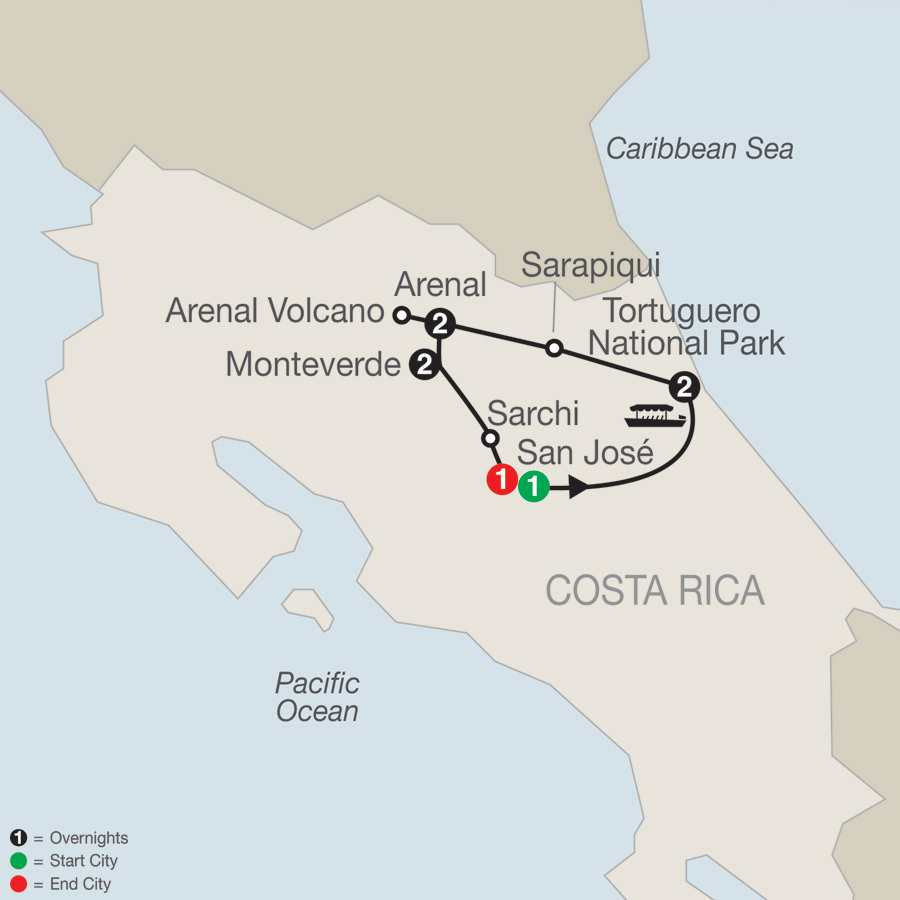 Itinerary map of Natural Wonders Of Costa Rica