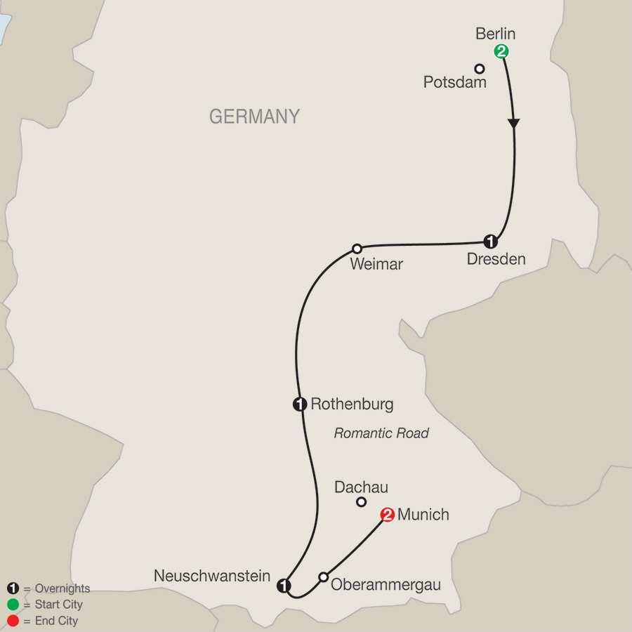 Itinerary map of German Vista>