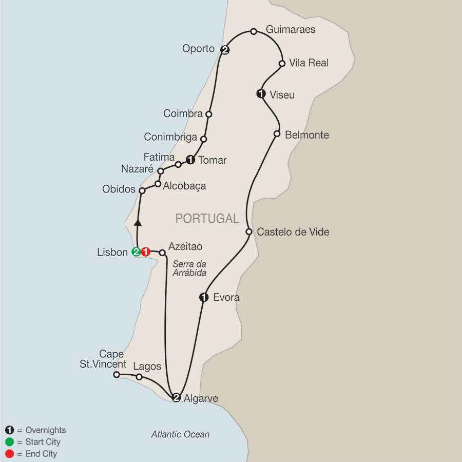 Itinerary map of Portugal In Depth