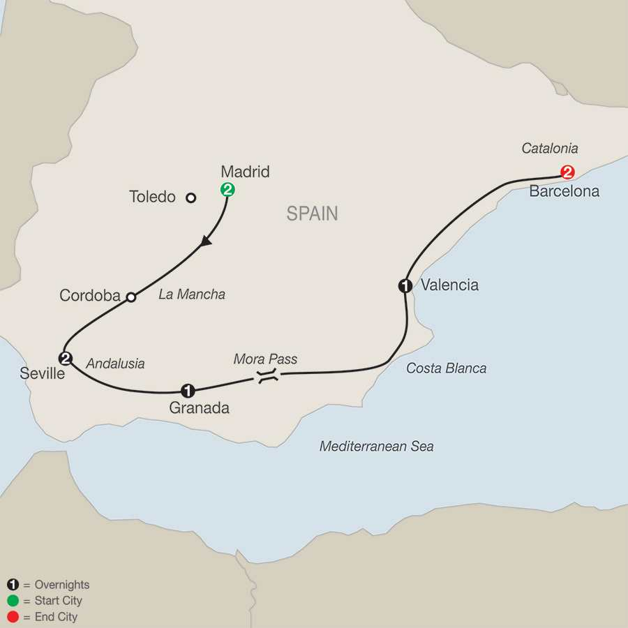 Itinerary map of The Best Of Spain>