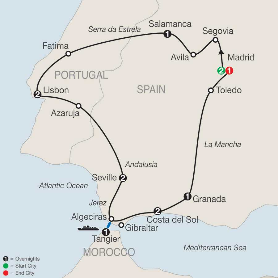 Itinerary map of Iberian Vacation