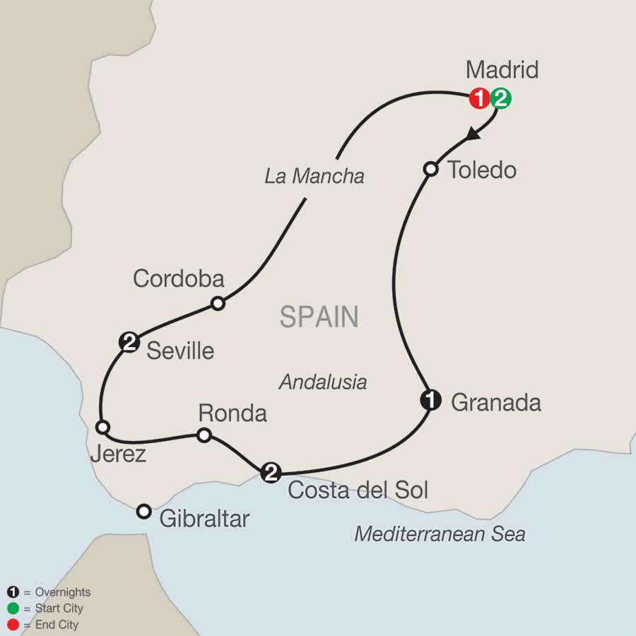 Itinerary map of Spectacular Spain>