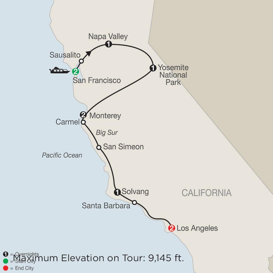 Itinerary map of California Classics