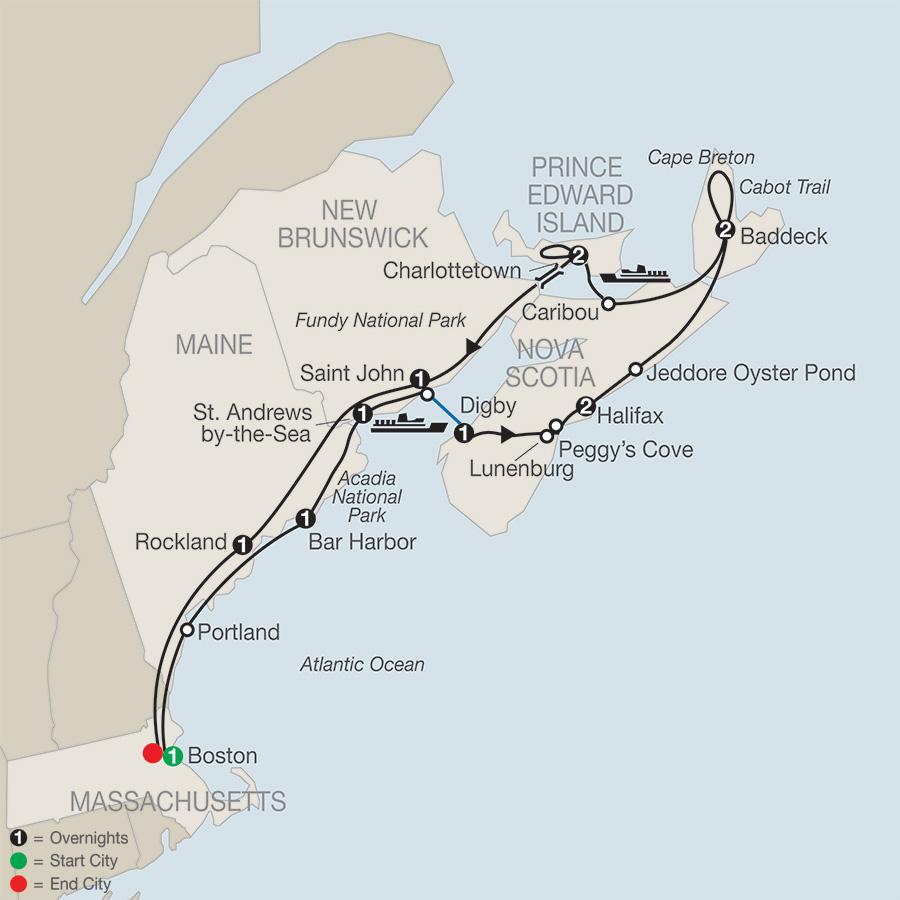 Itinerary map of Maritimes Adventure
