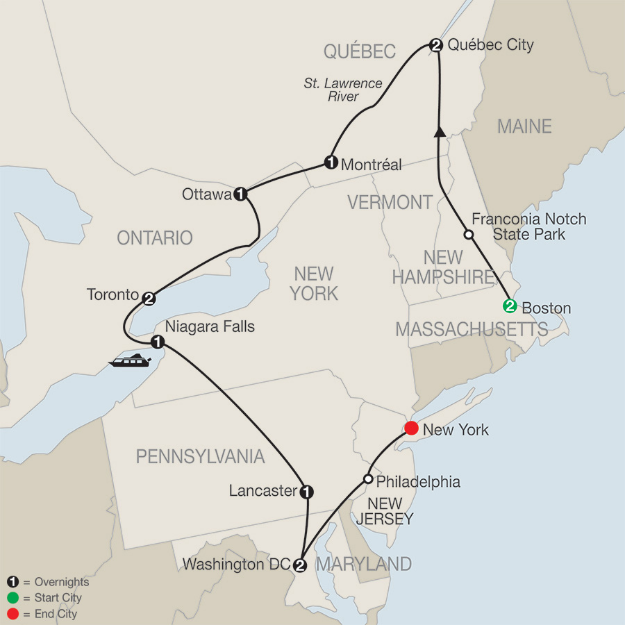 Itinerary map of EASTERN US & CANADA DISCOVERY
