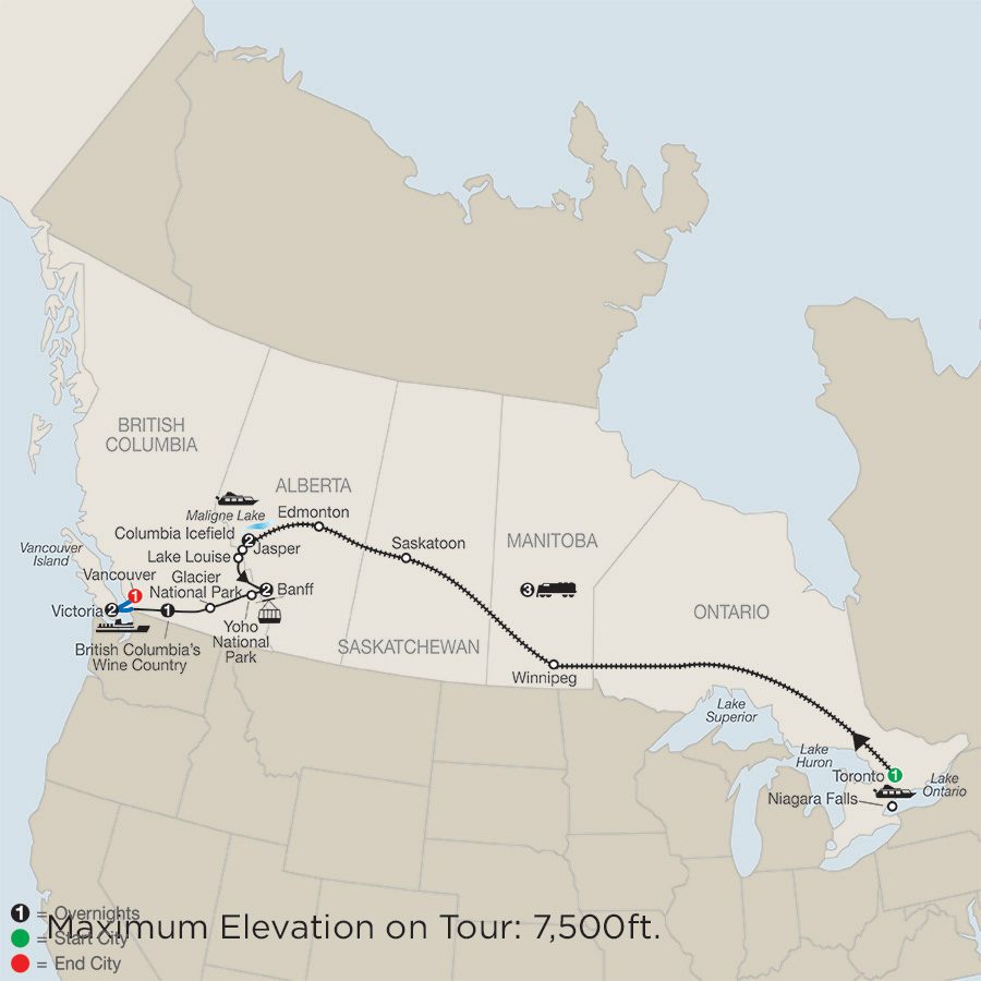 Itinerary map of Great Canadian Rail Journey