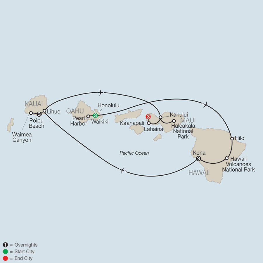 Itinerary map of Grand Hawaii Vacation 2018 from Honolulu to Maui