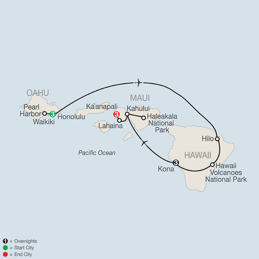 Itinerary map of Best of the Hawaiian Islands 2018 from Honolulu to Maui
