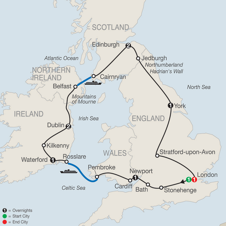 Itinerary map of Essential Britain & Ireland 2018 from London to London