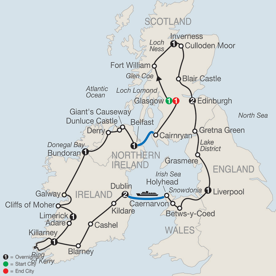 Itinerary map of Celtic Highlights 2018 from Glasgow to Glasgow