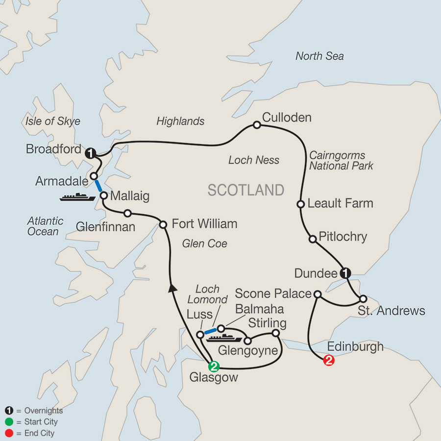 Itinerary map of Bonnie Scotland 2018 from Glasgow to Edinburgh