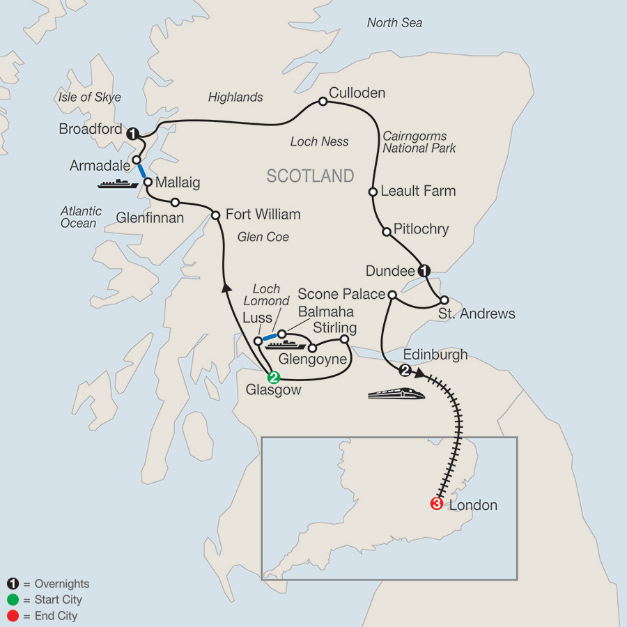 Itinerary map of BONNIE SCOTLAND WITH LONDON