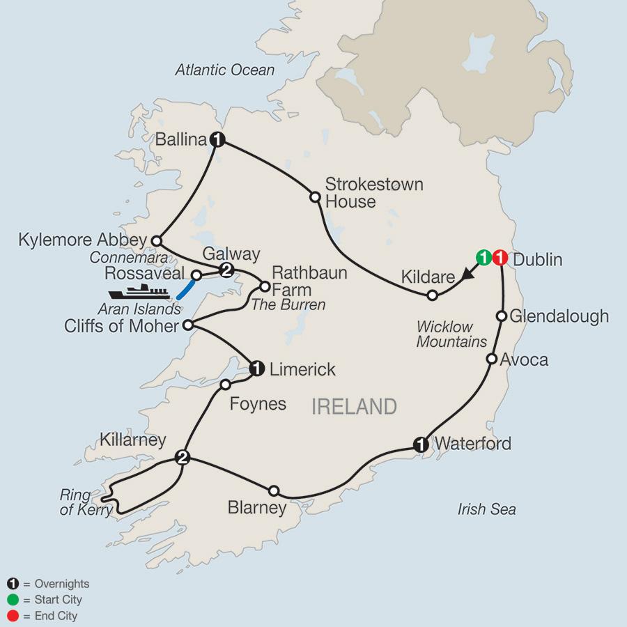 Itinerary map of Emerald Isle