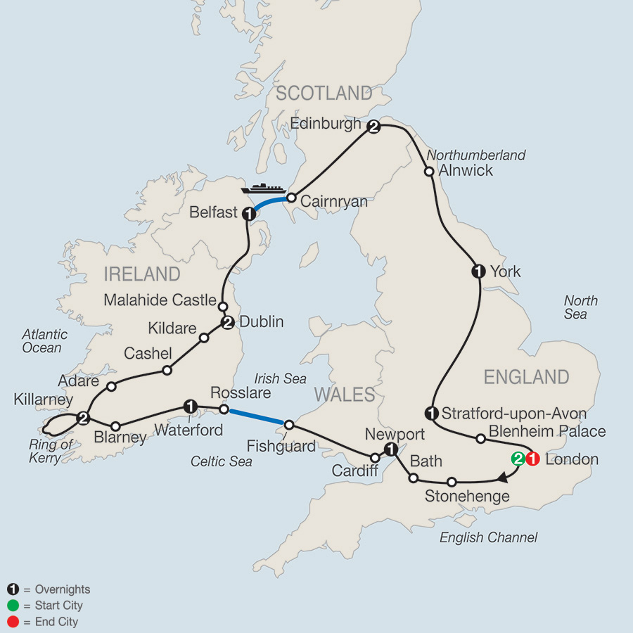 Itinerary map of Highlights of Britain & Ireland 2018 from London to London