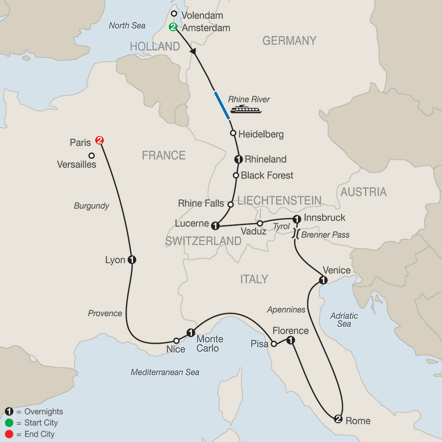 Itinerary map of European Tapestry