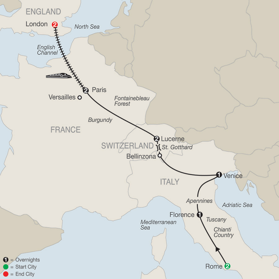 Itinerary map of Essential Europe