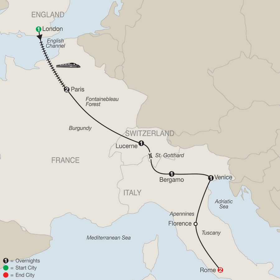 Itinerary map of EUROPEAN HIGHLIGHTS