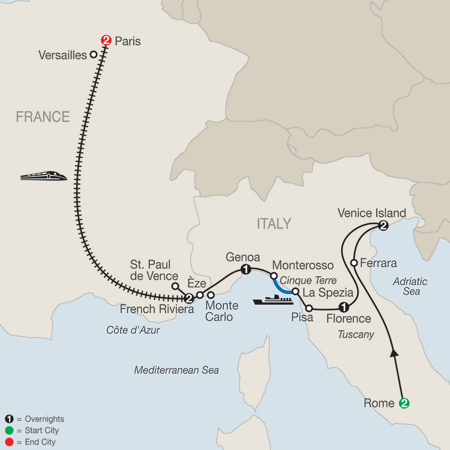 Itinerary map of The Best Of Italy & France