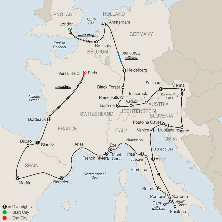 Itinerary map of Europe In Depth