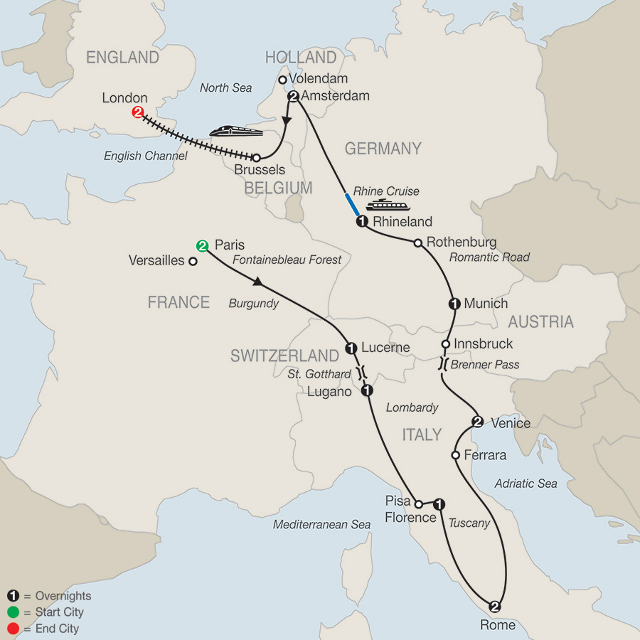Itinerary map of CONTINENTAL INTRODUCTION WITH LONDON