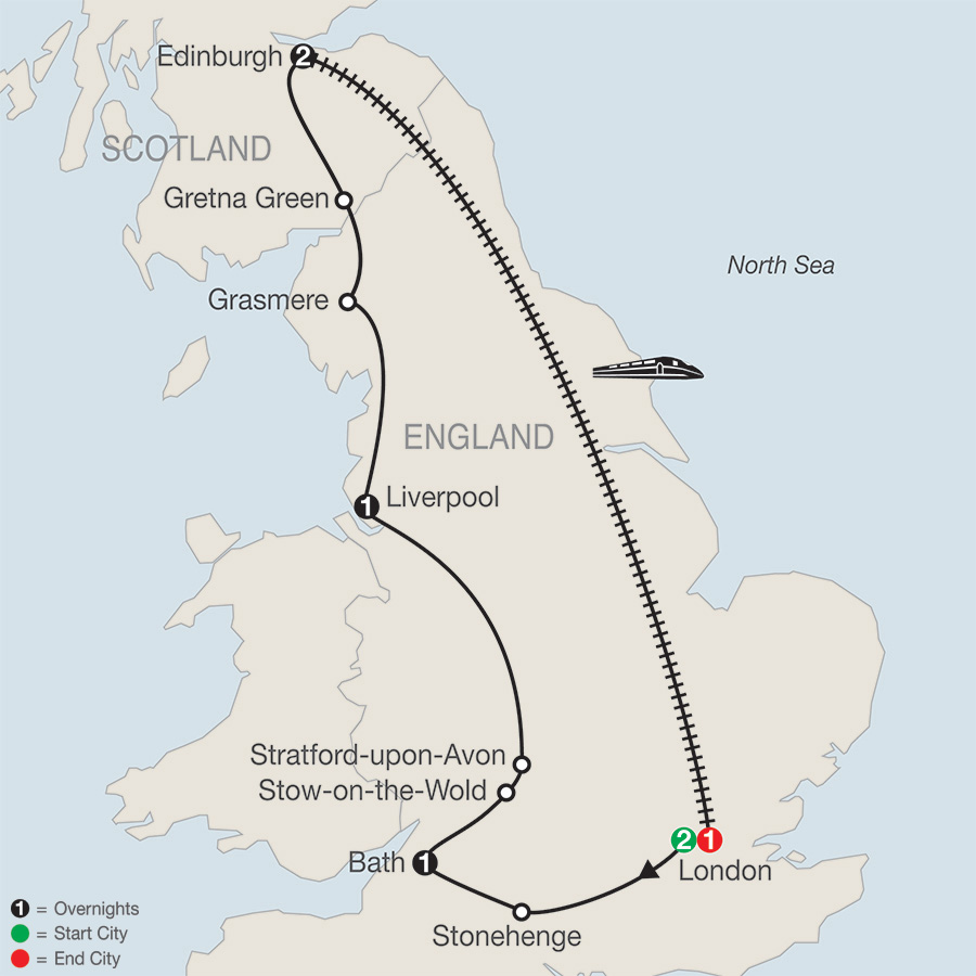 Itinerary map of British Escape with Return to London