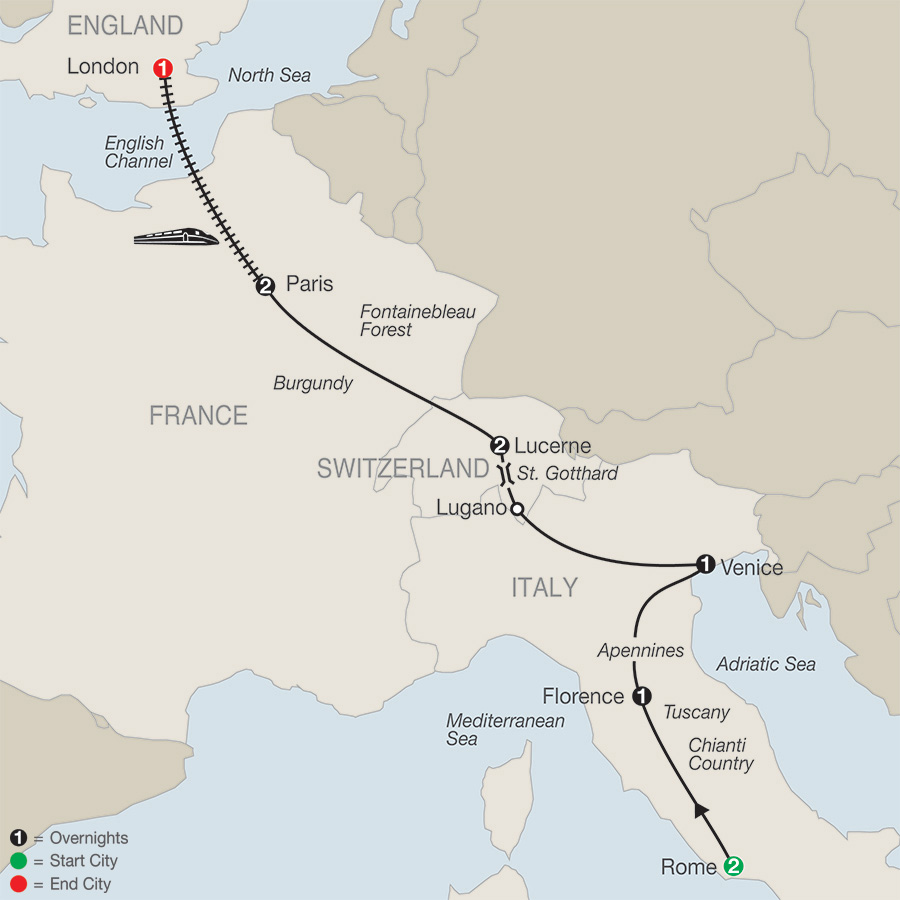 Itinerary map of European Escape with London